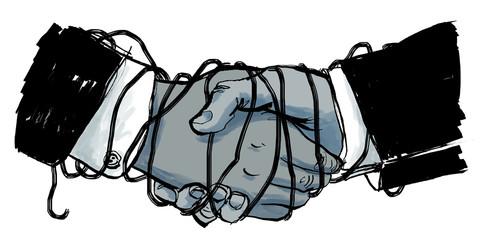 Verbindlicher Handschlag zwischen Business Partnern