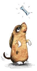 Niedlicher Welpe ist hungrig und träumt von Knochen