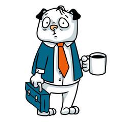 Mops Hund als Geschäftsmann im Anzug