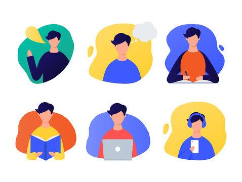 Speaking, thinking, writing, reading, working on a laptop, listening men illustrations