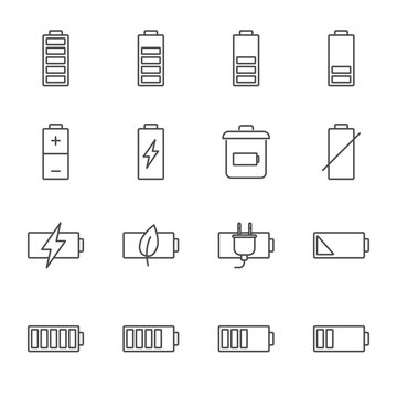 Battery vector icons set outline style