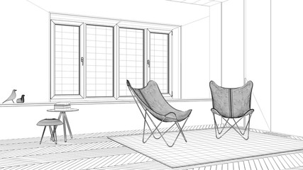 Interior design project, black and white ink sketch, architecture blueprint showing minimal living room with armchair carpet, parquet floor and window, scandinavian architecture