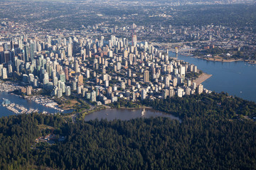 Aerial view of the modern downtown city during a vibrant sunny summer day. Taken in Vancouver, British Columbia, Canada.