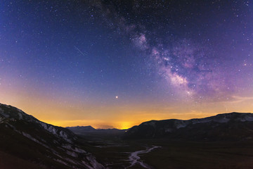 A Beautiful Milky Way over The Mountain of Gran Sasso