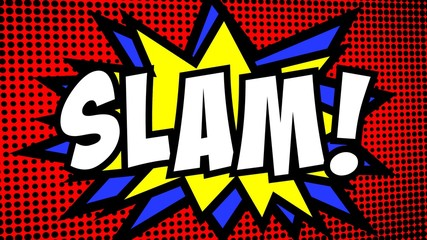 A comic strip cartoon with the word Slam. Green and halftone background, star shape effect.