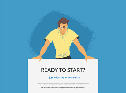 Website banner with invitation to web or mobile services. Flat vector illustration of a friendly man standing behind the banner and suggesting elearning classes, subscription for news or promo offers
