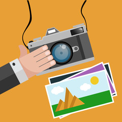 Flat design camera hand photo and  frames top view eps 10 vector