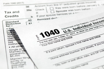 USA tax form 1040 for US individual tax return. Close-up