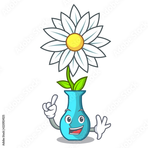 Finger Mascot Beautiful Flower In Vase Cartoon Stock Image And