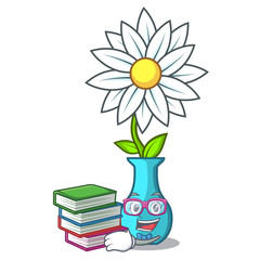Student with book mascot beautiful flower in vase cartoon