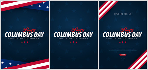 Set of Columbus Day sale promotion, advertising, poster, banner, template with American flag. Columbus day wallpaper. Voucher discount.