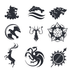 Heraldic gothic vector animals and birds or fish