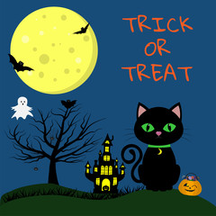 Happy Halloween. A Halloween cat with a medallion and green eyes sits on the background of the full moon. Nearby pumpkin with sweets, witchs castle, wood, bats, ghost, spider web and spiders.