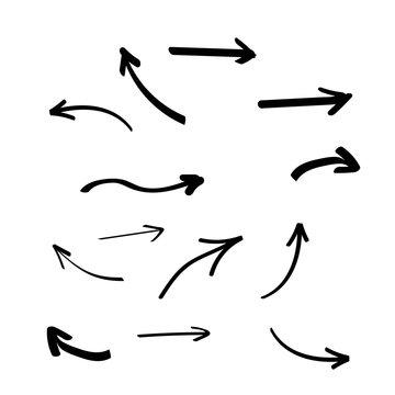 Set of hand drawn arrows. Arrows doodle set
