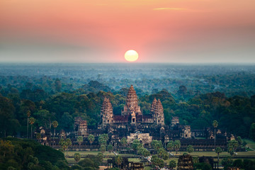 Foto auf Acrylglas Buddha Beautiful aerial view of Angkor Wat at sunrise-Siem reap- Cambodia.