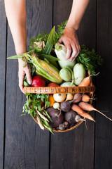 Good health diet food, abundance autumn vegetables.