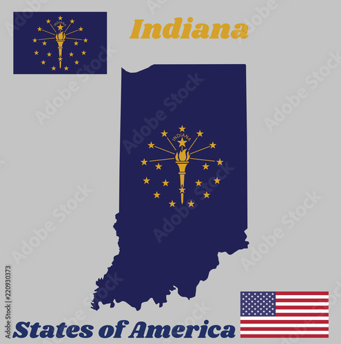 Map Outline And Flag Of Indiana A Gold Torch Surrounded By An Outer Circle