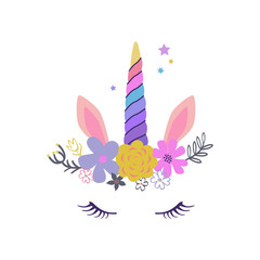 Vector cute Unicorn illustration. Modern magical greeting card, poster, shirt design