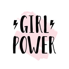 Vector poster with inspirational hand drawn quote Girl Power and brush stroke