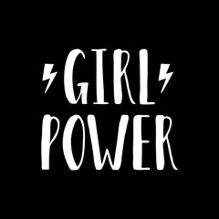 Vector poster with inspirational hand drawn quote Girl Power