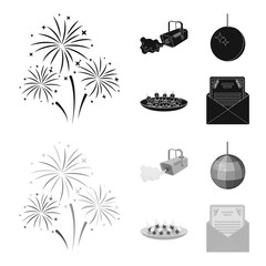 A video camera with smoke, a twirling holiday ball, a plate of sandwiches, an envelope with a greeting card. Event services set collection icons in black,monochrome style vector symbol stock