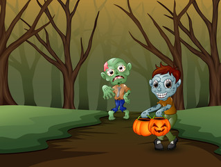 Zombie cartoon spooky in the halloween day