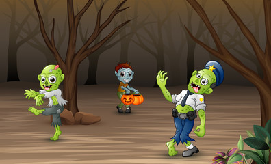 Happy zombie celebrating halloween in dead forest