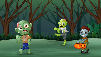Zombie cartoon walking in the forest