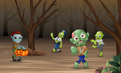Cartoon zombie walking in the forest