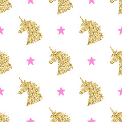 Vector seamless pattern with golden magical unicorn head silhouettes and stars. Inspirational design for print, banner, poster, fashion.