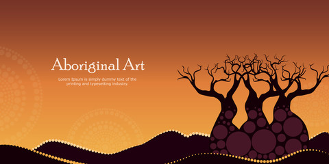 Aboriginal art landscapes vector banner background. Mountain with tree - Nature concept