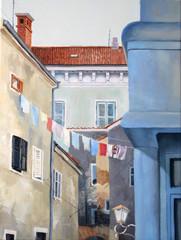 Oil painting illustration of the old street of Rovinj, Croatia, Europe