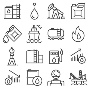Industry oil gray line vector icon set