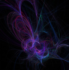 Fractal abstraction. A glowing spiral figure, a symbol of energy, tension, power