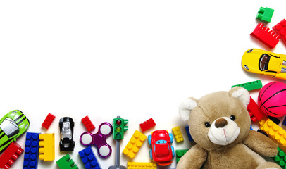children toys on white  background.