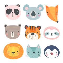 Wall Mural - Cute animals. Hand drawn characters.