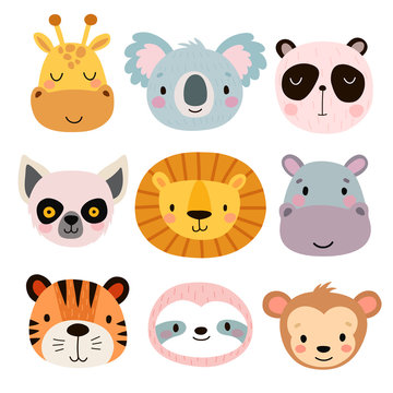 Cute animal faces. Hand drawn characters.