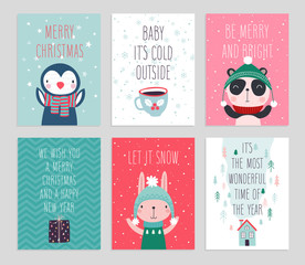 Fototapete - Christmas card set with Cute animals. Hand drawn characters. Greeting flyers.
