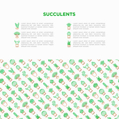 Cactus and succelents in pots concept with thin line icons for banner, print media. Modern vector illustration, web page template for shop of plants.