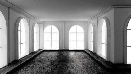 Gloomy empty interior with stone floor. 3d illustration, 3d rendering.