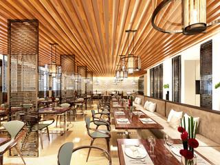 3d render of modern restaurant cafe