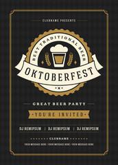 Oktoberfest beer festival celebration retro typography poster or flyer