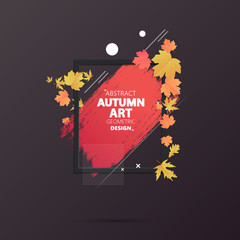 Autumn abstract frame layout decorate with leaves for shopping sale or promo poster and frame leaflet or web banner.Vector illustration