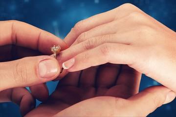 Poster de jardin Akt Close up Groom Putting the Wedding Ring on bride