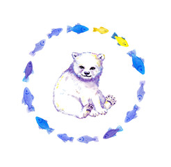 Cute polar bear cub, white bear animal in wreath of fishes. Watercolor
