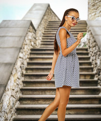 Slim young woman and fashion photo