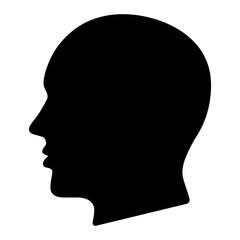Simple black silhouette head (profile) illustration. Isolated on white