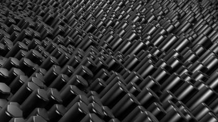Black hexagon background. 3d illustration, 3d rendering.