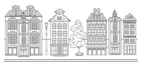 Sketch of town street.