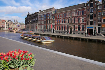 Boat Trip, Sightseeing, Amsterdam, Canal, Tulips